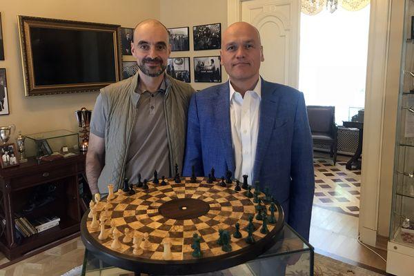 Ульви Касимов и Андрей Филатов в Музее шахмат РШФ